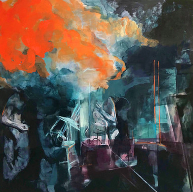 Coal Shed 2018 Oil on canvas 200 x 200 cm (Sold) Arts Council Northern Ireland Art collection