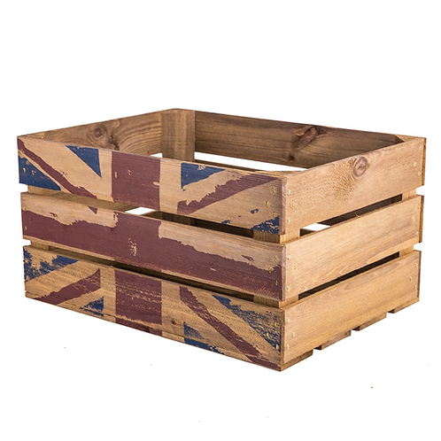 Union Jack Printed Large Wooden Crate