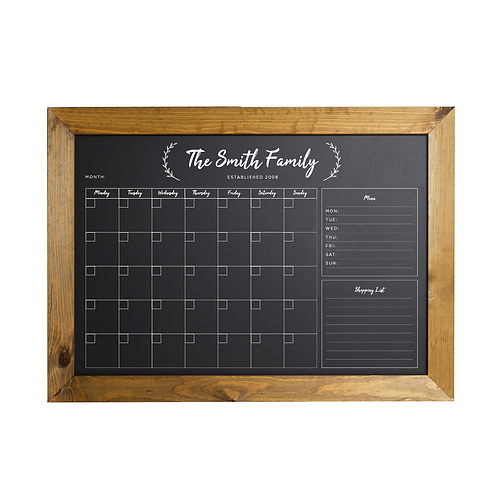 Personalised Monthly Chalkboard Planner