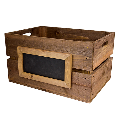 Large Rustic Wooden Crate with Framed Chalkboard Panel