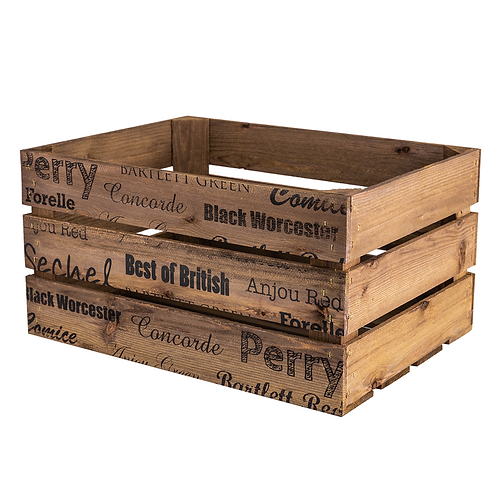 Apple and Pears Printed Large Wooden Crate