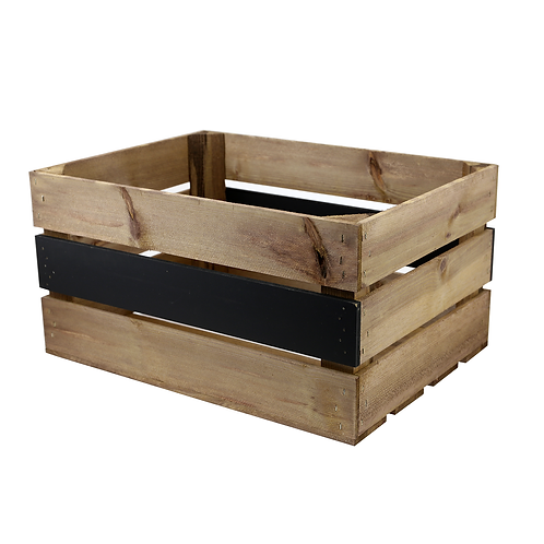 Large Wooden Crate with Chalkboard Panel