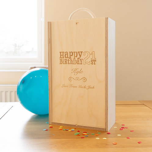 Engraved 'Happy Birthday' Two bottle Box