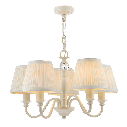 Laura Ashley Ellis Satin-Painted Spindle 5 Light Chandelier with Ivory Shades