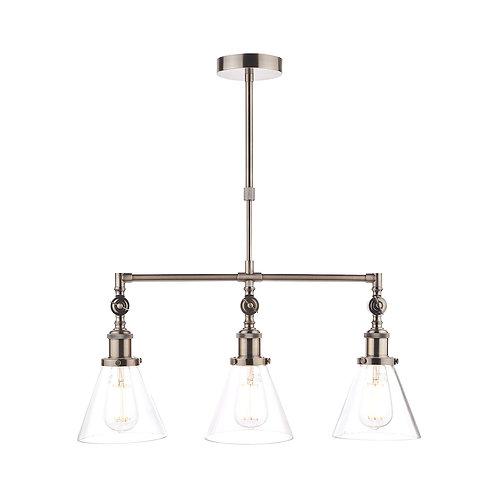 Laura Ashley Isaac Industrial Nickel 3 Light Bar Pendant Ceiling Light