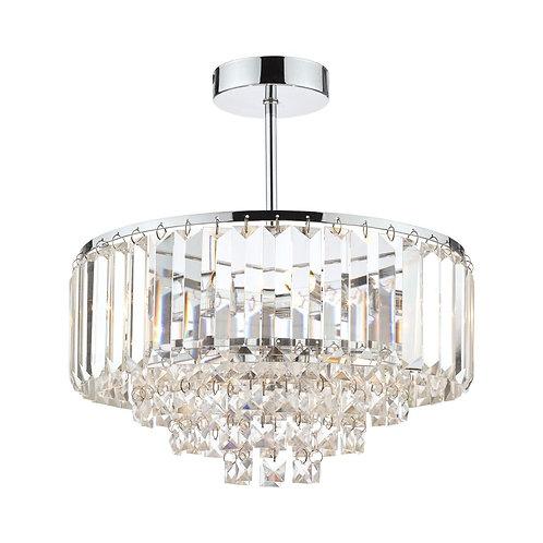 Laura Ashley Vienna Crystal & Polished Chrome 3 Light Semi Flush Ceiling Light