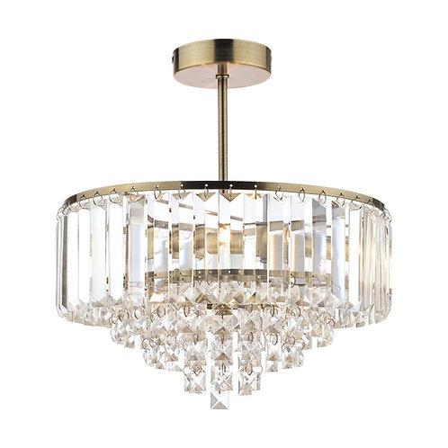 Laura Ashley Vienna Crystal & Antique Brass 3 Light Semi Flush Ceiling Light