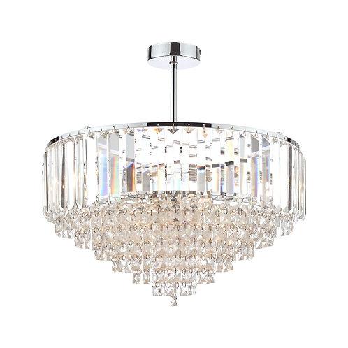 Laura Ashley Vienna Crystal & Polished Chrome 5 Light Semi Flush Ceiling Light