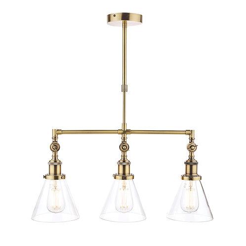 Laura Ashley Isaac Antique Brass 3 Light Bar Pendant Ceiling Light