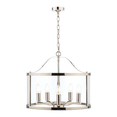 Laura Ashley Harrington Polished Nickel 5 Light Lantern Ceiling Light