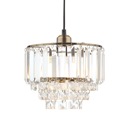 Laura Ashley Vienna Crystal & Antique Brass Easy-Fit Pendant