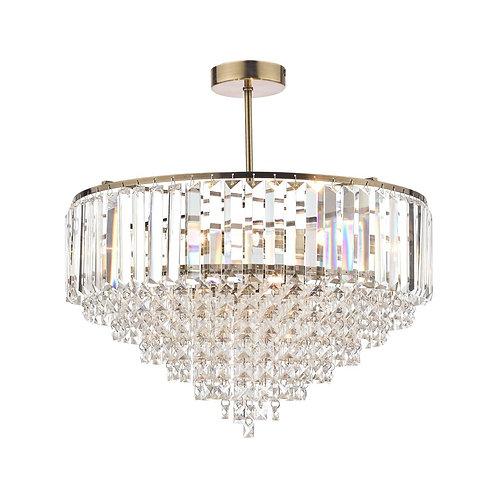 Laura Ashley Vienna Crystal & Antique Brass 5 Light Semi Flush Ceiling Light