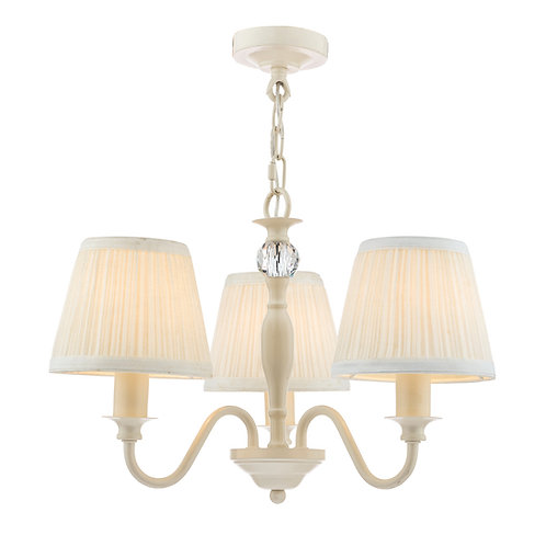 Laura Ashley Ellis Satin-Painted Spindle 3 Light Chandelier with Ivory Shades