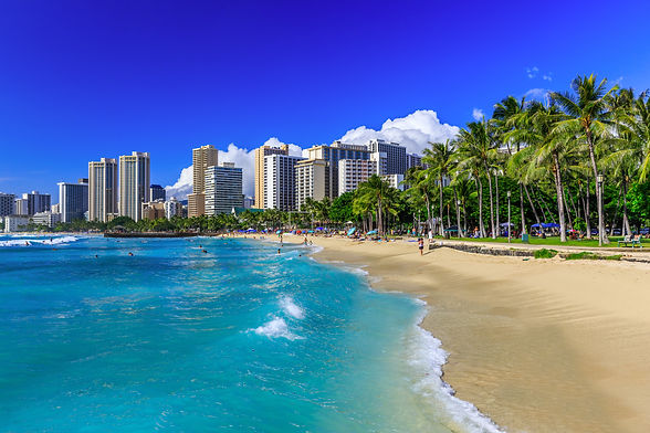 Honolulu, Hawaii. Waikiki beach and Hono
