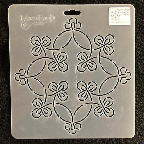Stencil Bloco  Meio Circulo Floral
