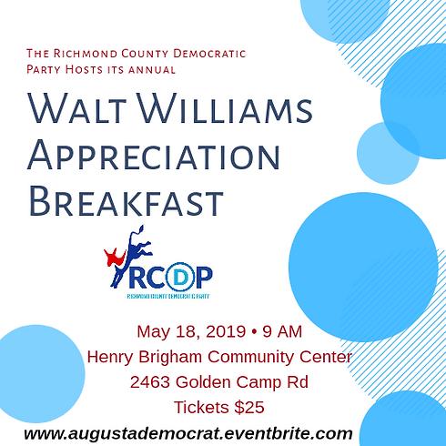 Walt Williams Appreciaton Breakfast Flyer