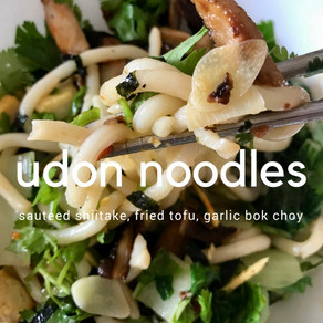 Udon Noodles with Shiitakes, Fried Tofu and Garlic Bok Choy