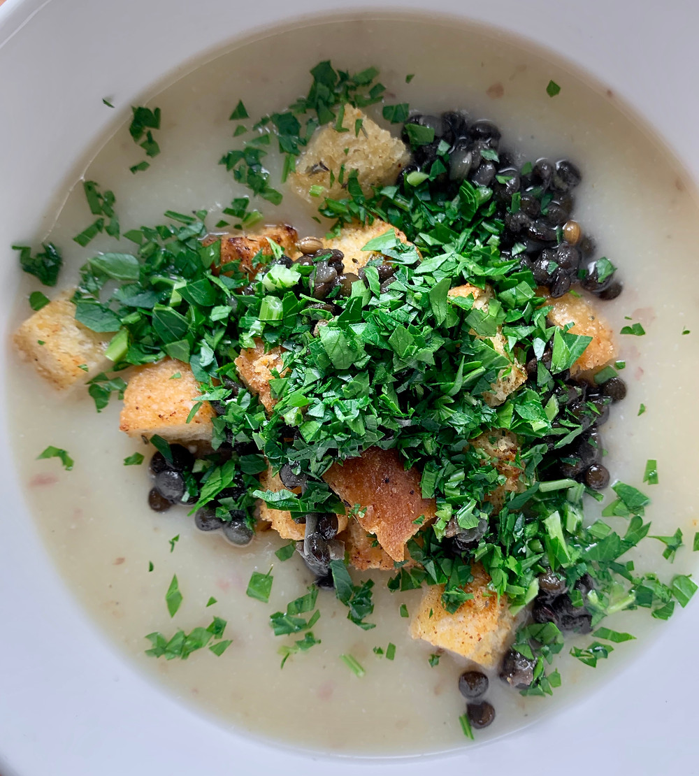 Cauliflower Potato Soup with Sourdough Croutons and Black Lentils