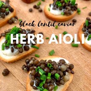 Black Lentil Caviar with Herb Aioli