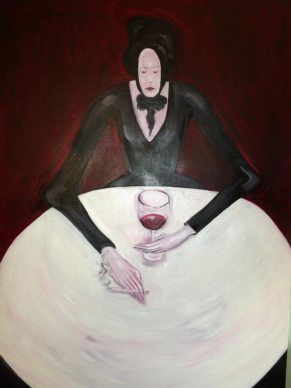 SOLITUDE Jeune femme humain personnage figure art figuratif robe noir blanc noir rouge table verre vin café bistrot mains cigarettes isolement détresse désespoir déchéance