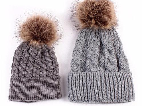 Grey Matching Bobble Hats