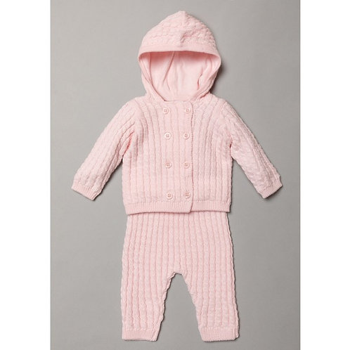 Cable Knit Hooded Set -Pink