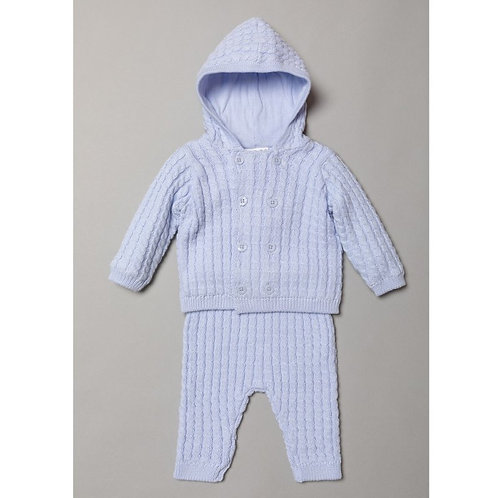 Cable Knit Hooded Set - Blue