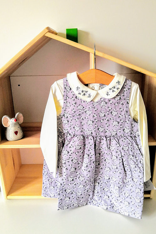 Grey Ditsy Pinafore Dress