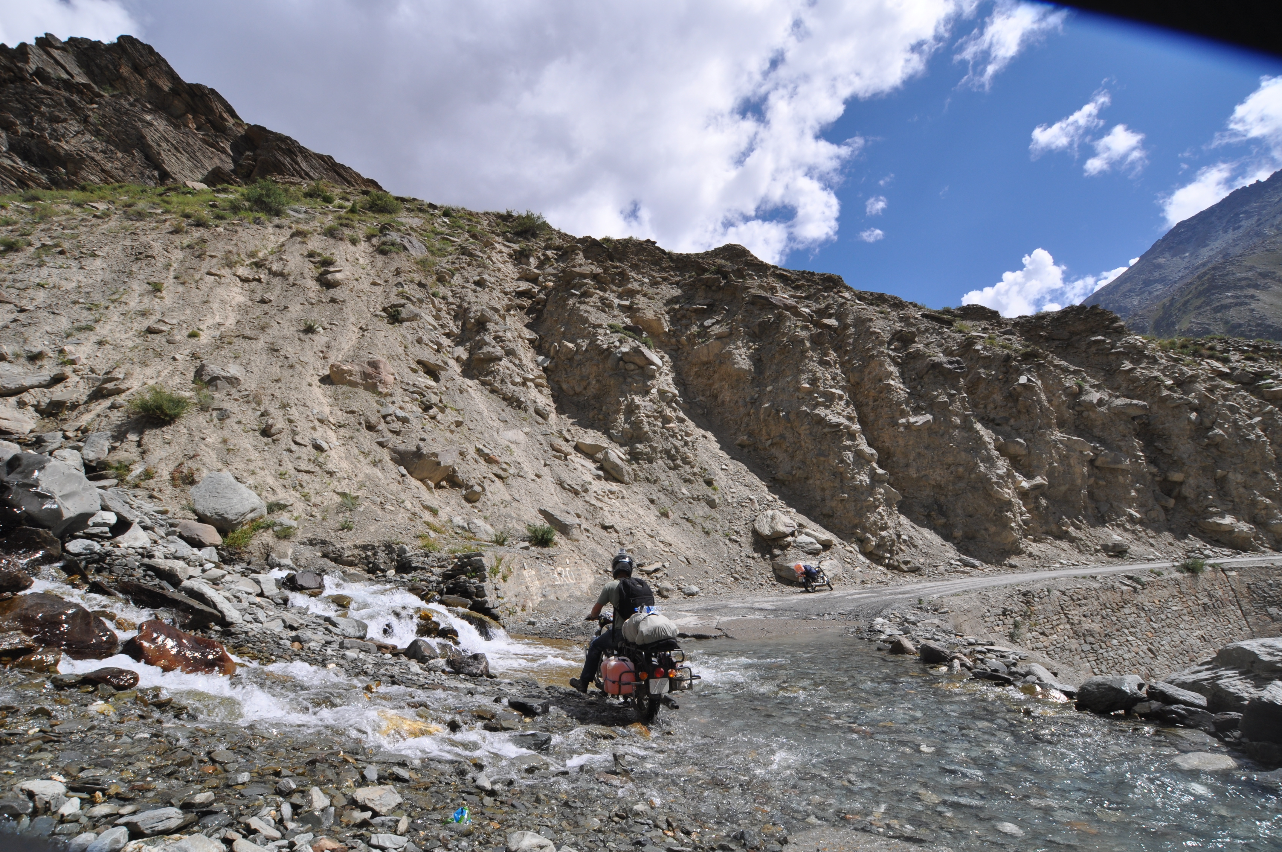 River crossings on the Leh Manali Highway, a high altitude road that traverses the great Himalayan r