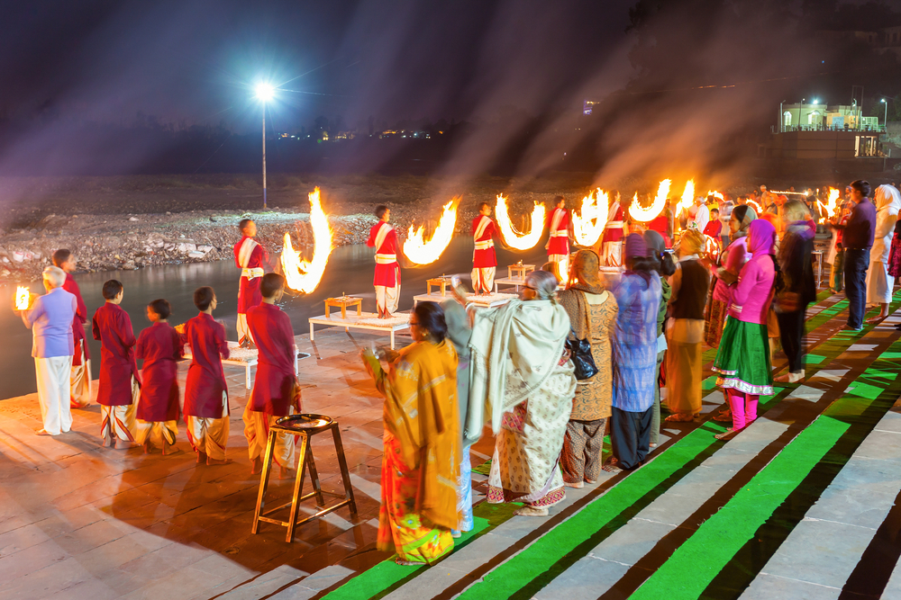 Ganga Aarti ceremony in Rishikesh, India. It is a Hindu ritual of worship, in which light from wicks