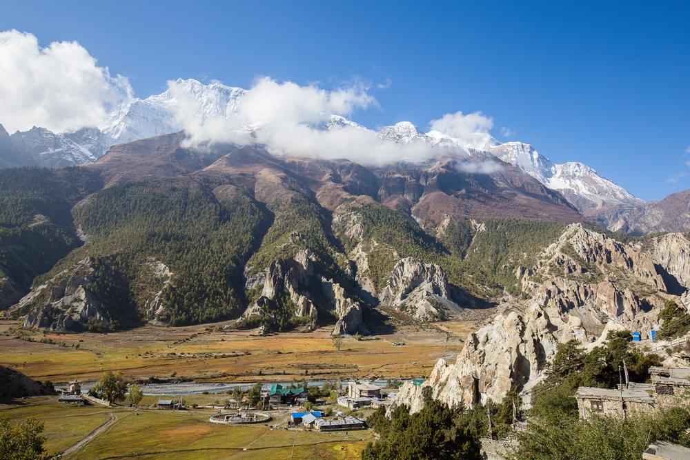 Manang- stone build village, Annapurna region shutterstock_503362753