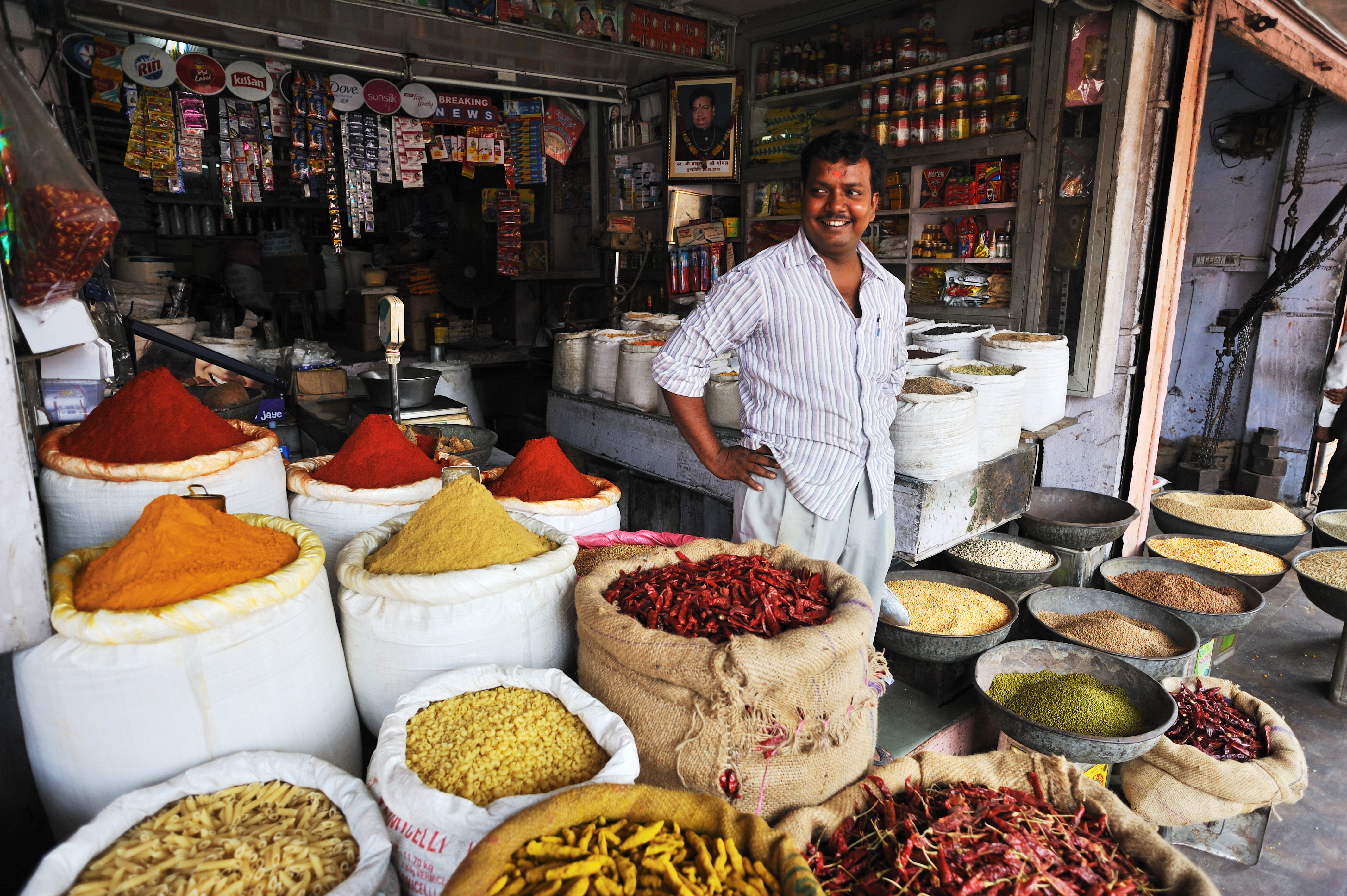 Jaipur, India - September 23, 2013  A vendor displayed the traditional indian spices in his shop by
