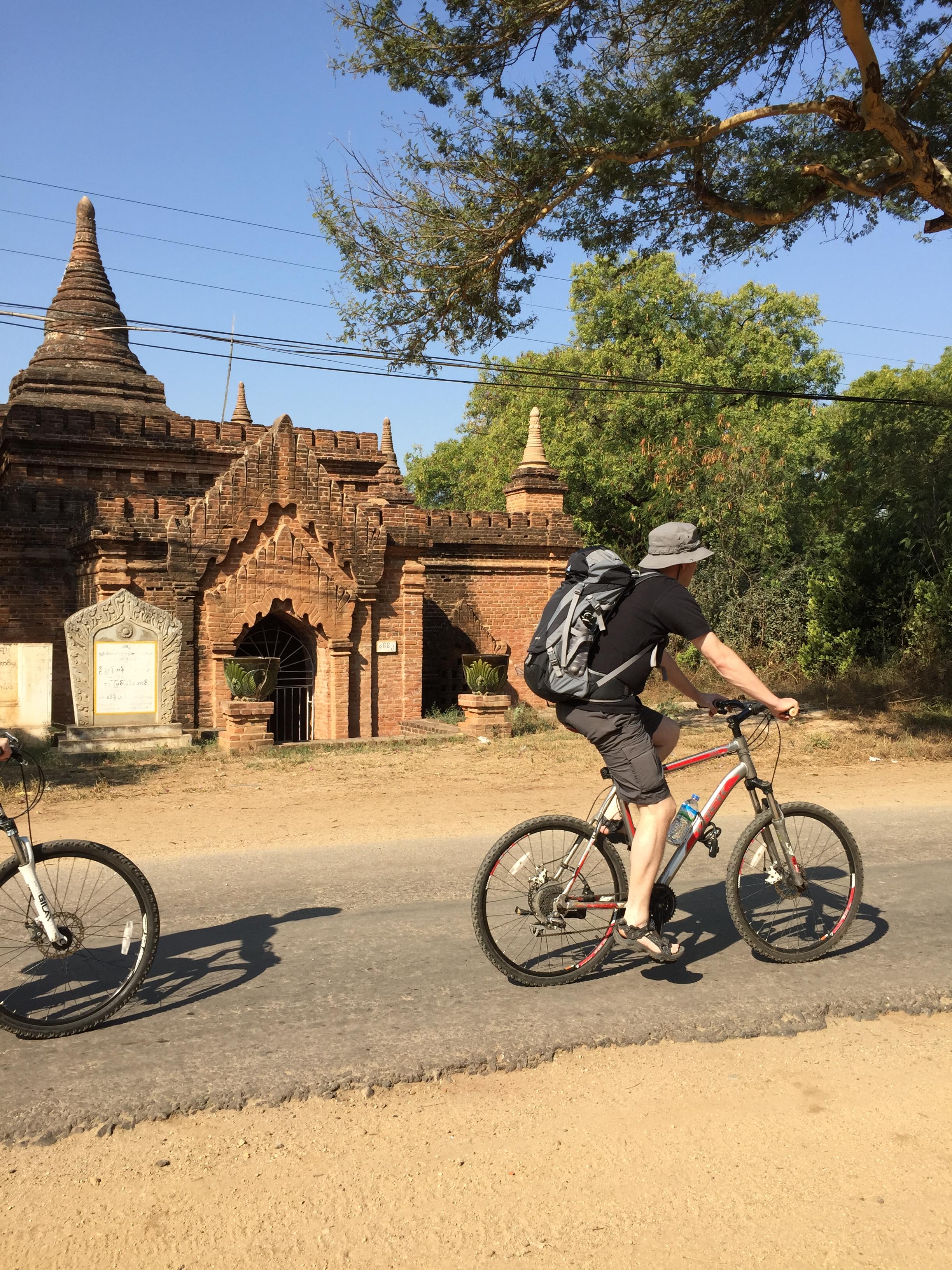 Biking at temple field