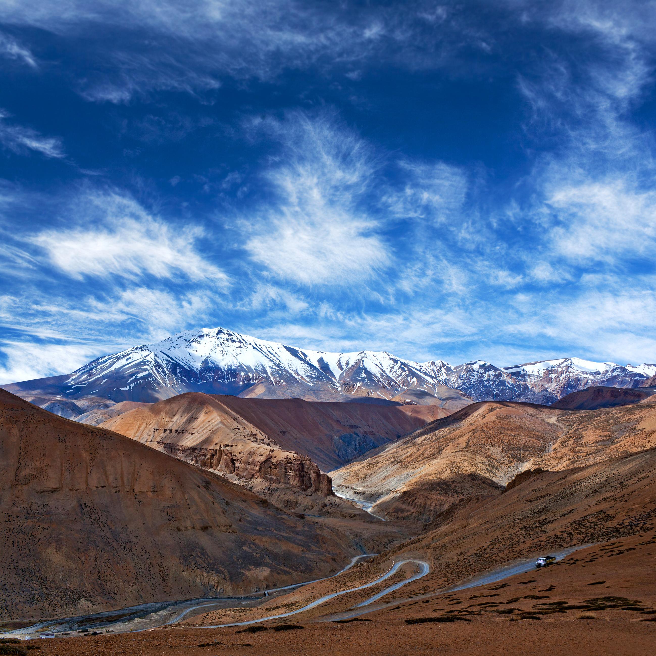 Himalayan mountain landscape along Manali - Leh National Highway in Ladakh, Jammu and Kashmir state,
