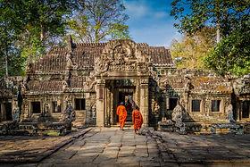 Monks visiting an Angkor Temple