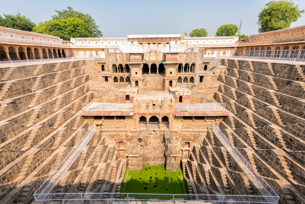 The famous Chand Baori Stepwell in the village of Abhaneri, Rajasthan_528229216