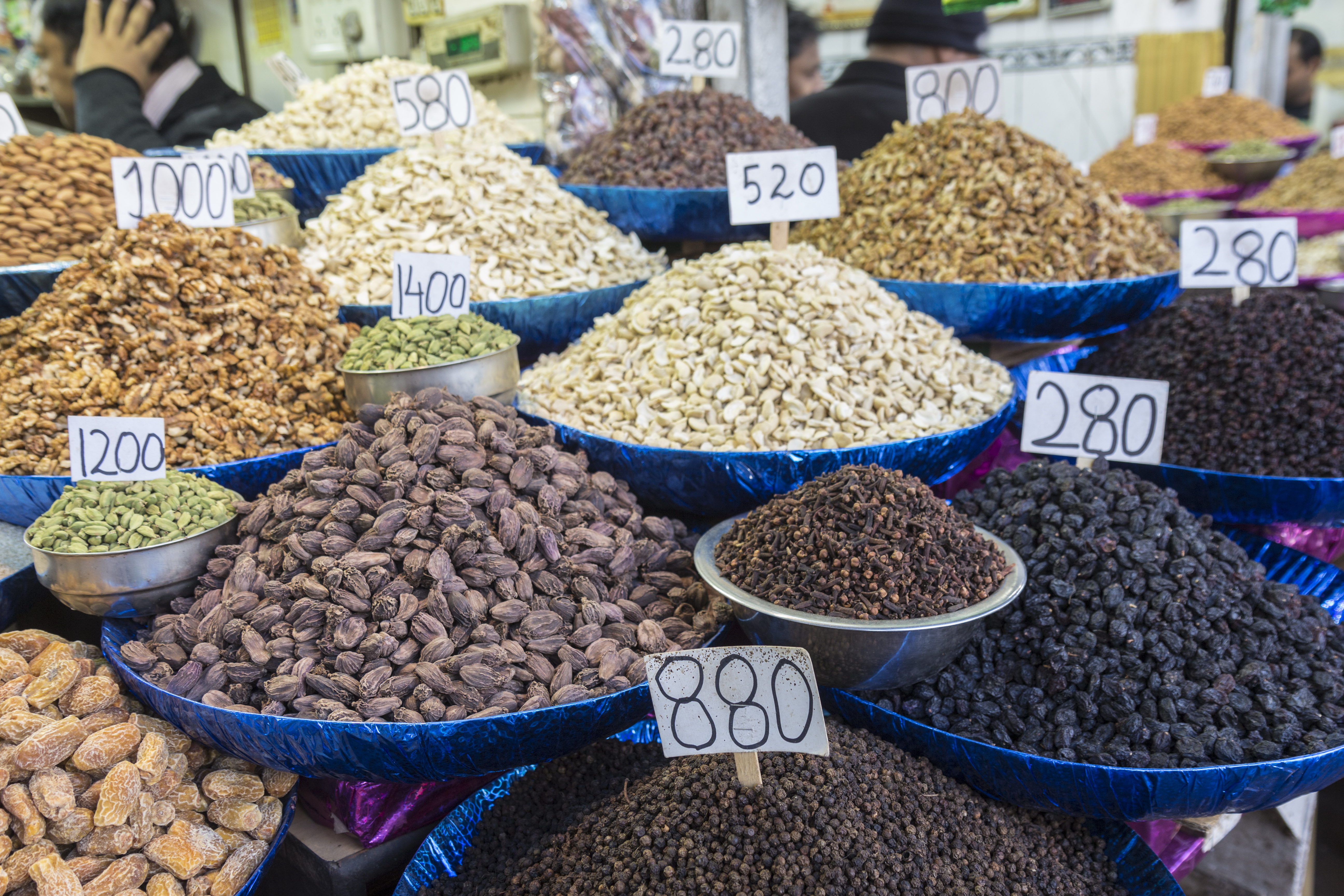 Herb and spice display of shop in spice market, chandni chowk. this market is famous and biggest spi