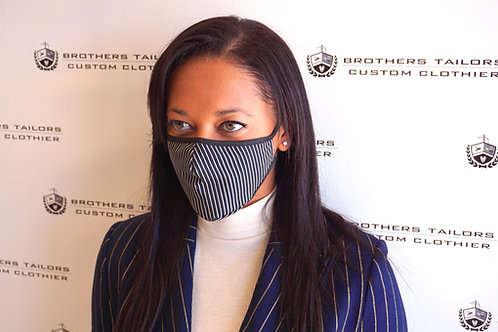 Tailored Cotton Face Mask | Black Stripe