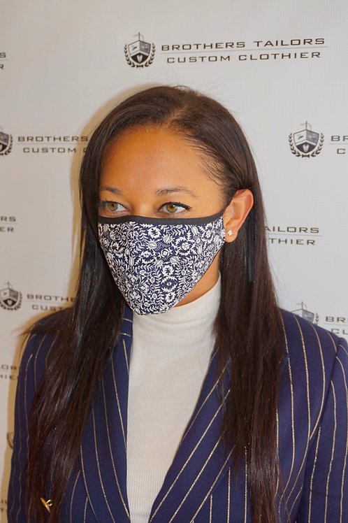 Tailored Cotton Face Mask | Blue & White Print