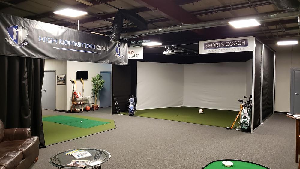 indoor golf simulator showroom