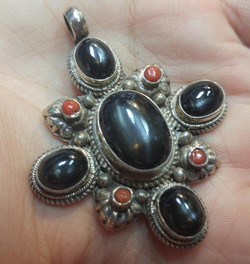 Diopside & Coral Sterling Pendant