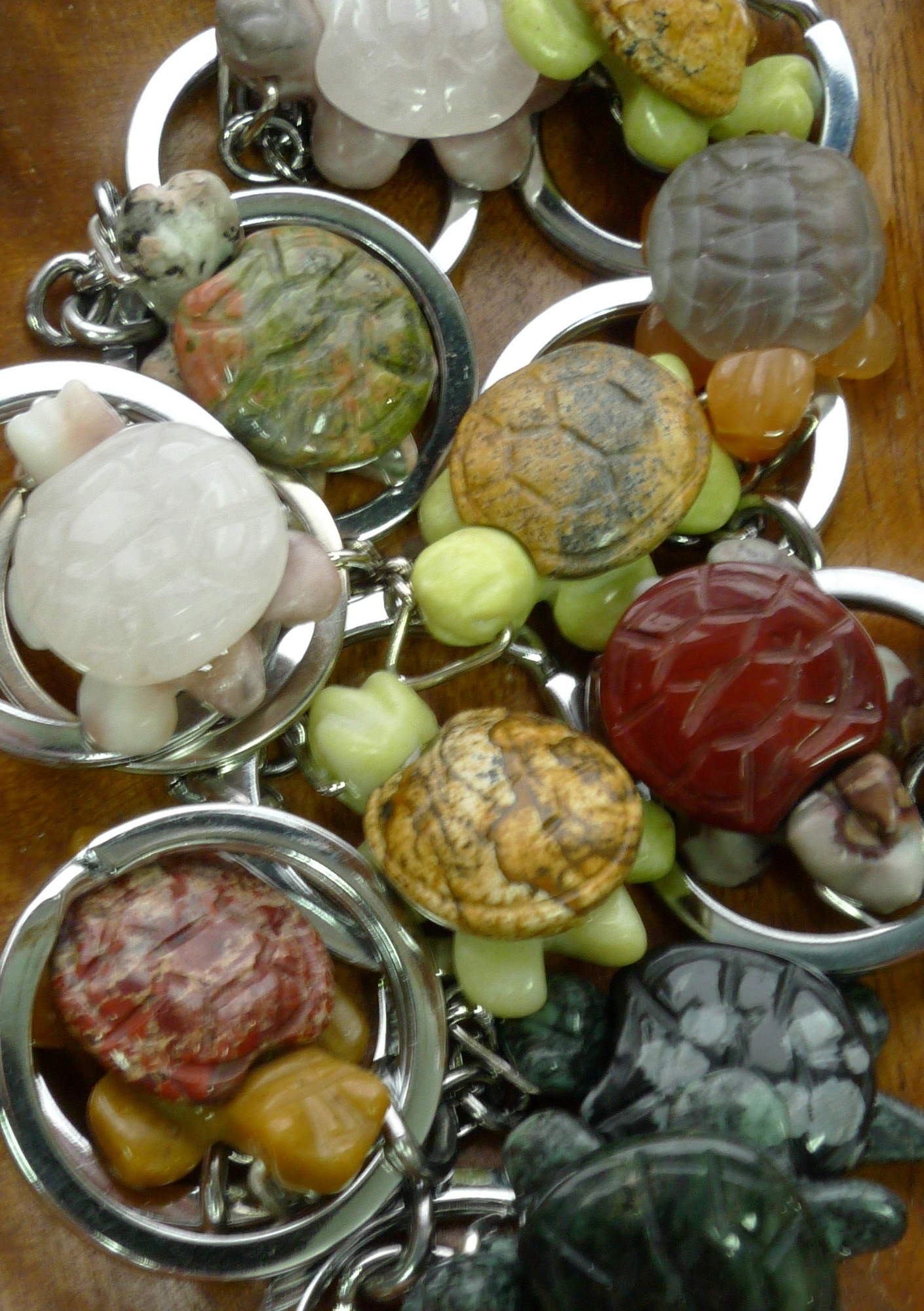 Turtle Gemstone Keychains