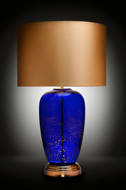 Commercial photography shows off this gorgeous blue lamp
