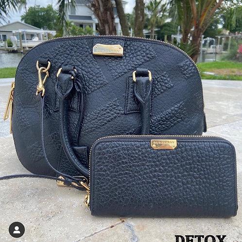 Burberry Pebbled Black Handbag and Wallet Set