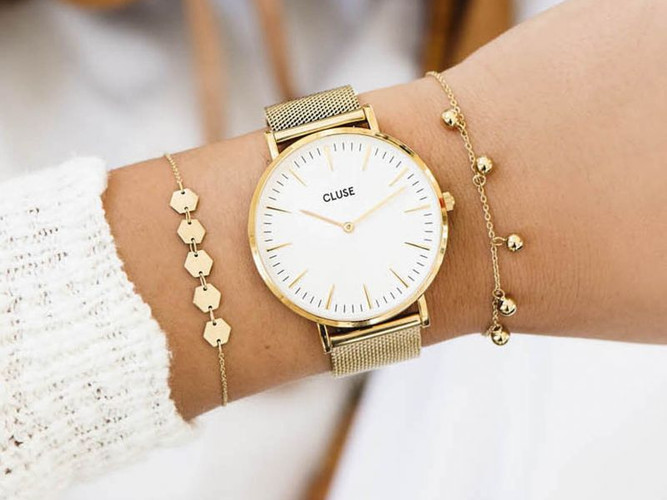 montre-cluse-la-boheme-mesh-gold-white
