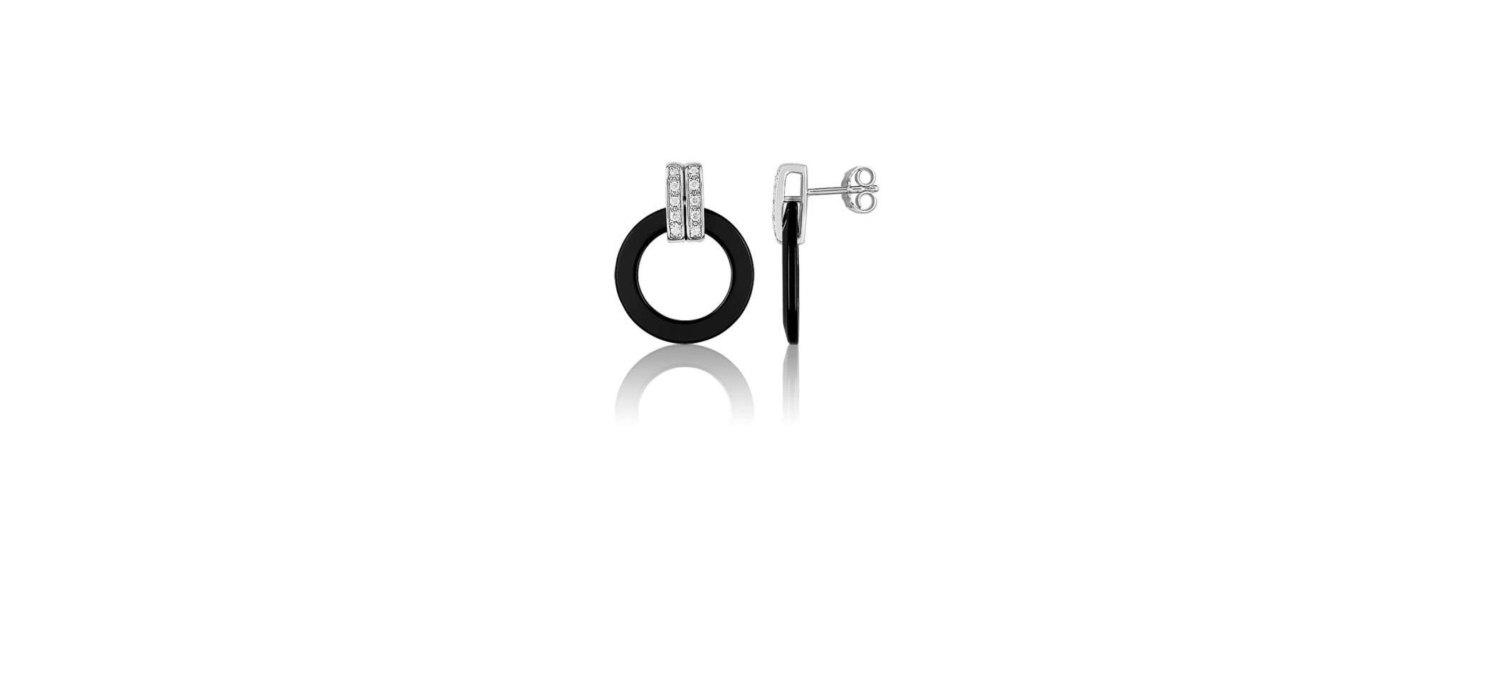 BOUCLE D'OREILLES-enlacement-noir-guy-laroche-ceramique-or-diamants