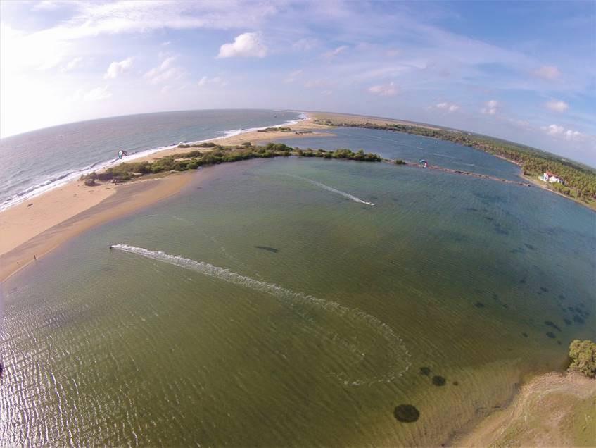 Kitesurfing on Kappalady lagoon