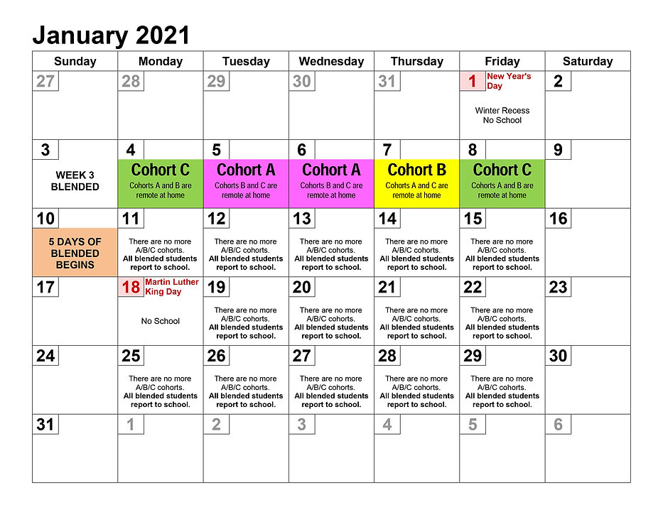 january 2021 cohort calendar
