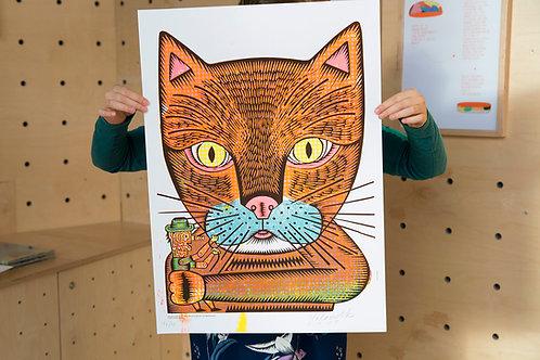 Silkscreen Cat face - Pittige pruim
