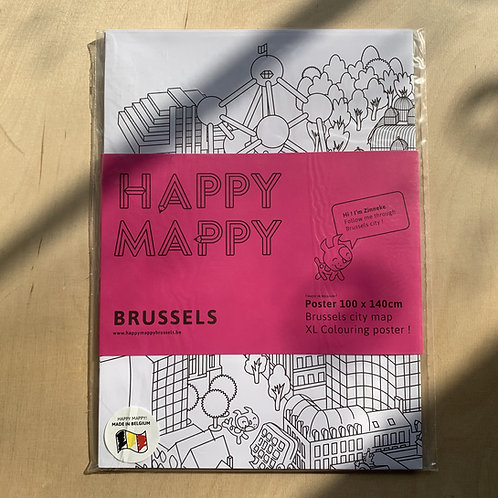 Happy Mappy Brussels - colouring poster